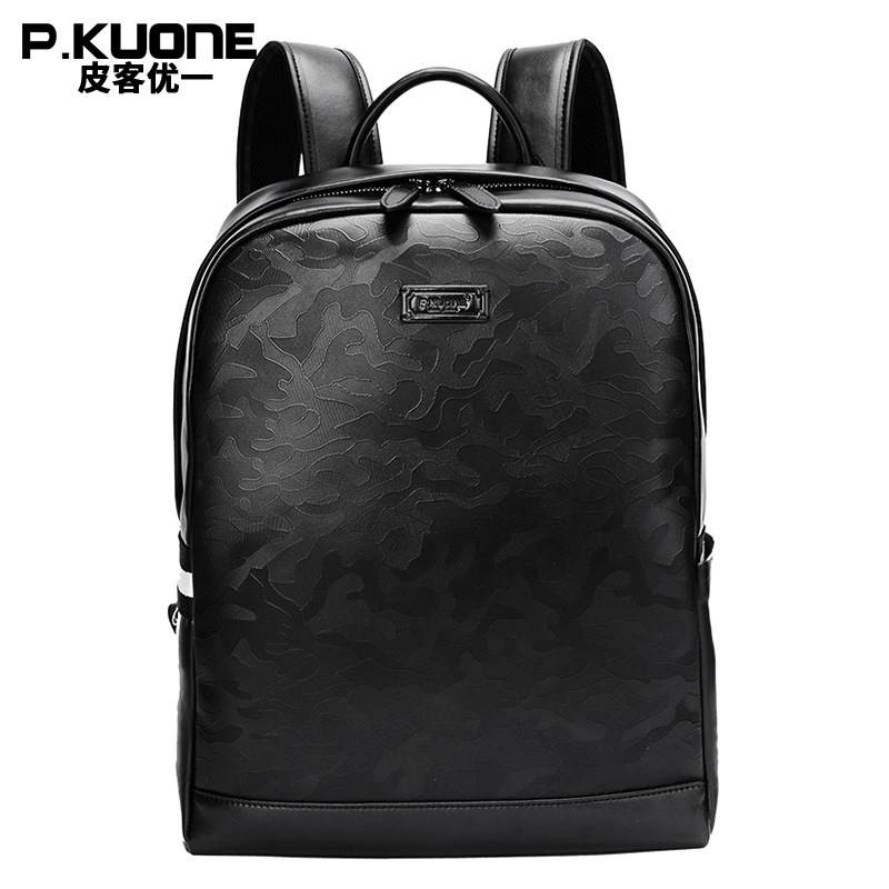 P.KUONE New Fashion Men Luxury Male Bag High Quality Waterproof Laptop Messenger Travel Backpack School Bag Genuine Leather padieoe 2017 genuine leather new fashion men luxury male bag high quality waterproof laptop messenger travel backpack school bag