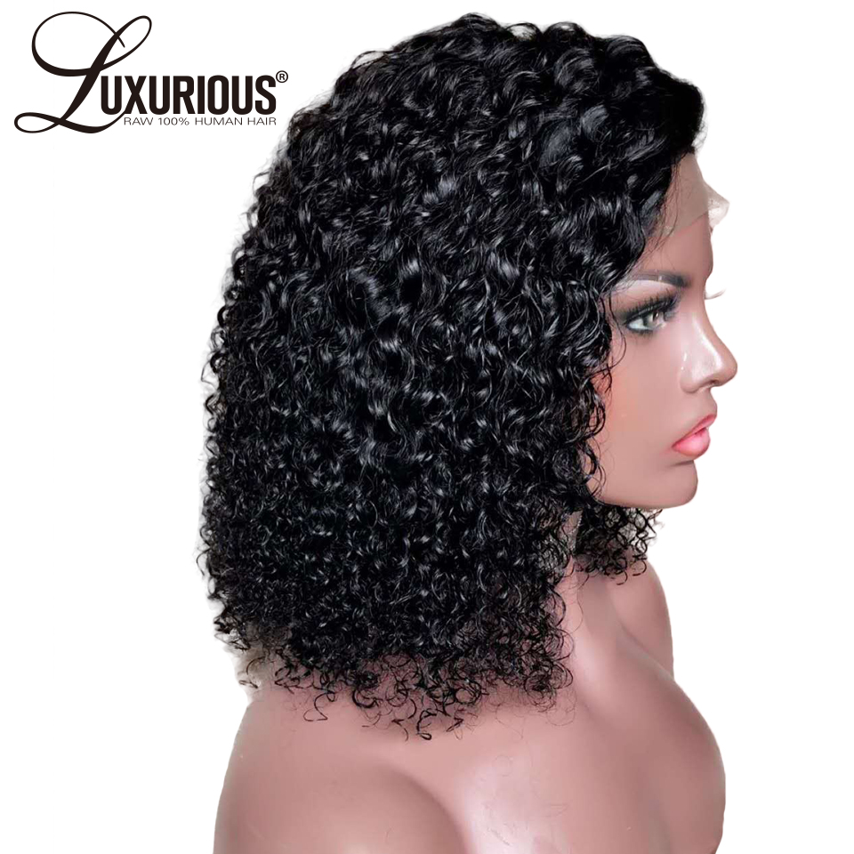 150% Short Curly Bob 360 Lace Frontal Wigs With 5inch Long Part Natural Brazilian Remy Lace Front Human Hair Wigs Bleached Knots(China)