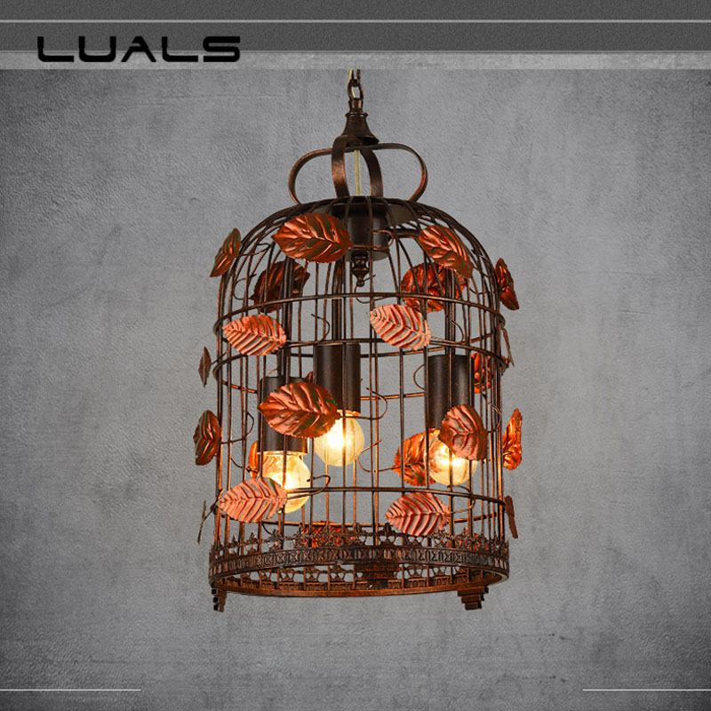 Bird Cage Industrial Style Pendant Lights Metal Edison Bulb Light Fixture Loft Retro Pendant Lamp For Bar Cafe Pendant Lighting цена