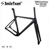 Smileteam 2018 новый полный углеродного гравия Велосипедные рамы T800 CARBON ДИСК дорожный Велокросс велосипед Рамки 142*12 мм через мост MTB Рамки комплек