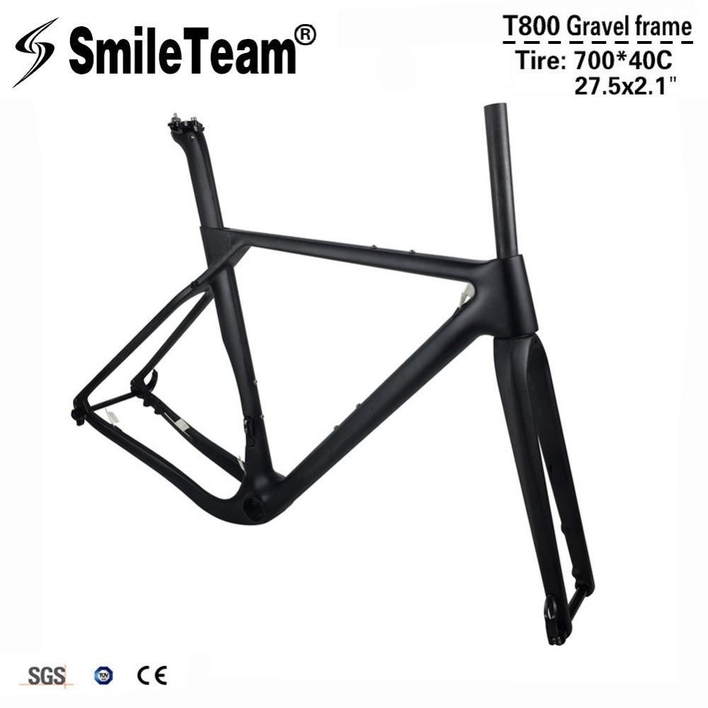 Smileteam 2018 New Full Carbon Gravel Bicycle Frame T800 Carbon Disc Road Cyclocross Bike Frame 142*12mm Thru Axle MTB Frameset 2017 flat mount disc carbon road frames carbon frameset bb86 bsa frame thru axle front and rear dual purpose carbon frame