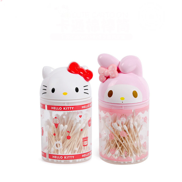 Cartoon Cotton Swab Box K T Desktop Storage Makeup Cute O Kitty