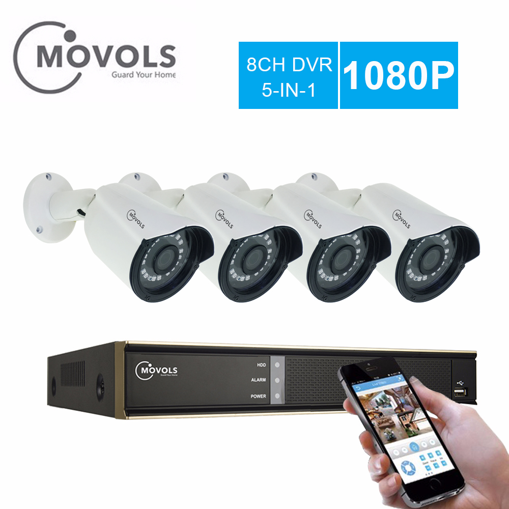 MOVOLS 1080p CCTV 4 white Camera Video Surveillance 4PCS 2000TVL Outdoor Security Camera system 8CH 1080N
