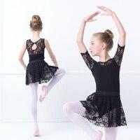 Girls Kids Black Gymnastics Leotards Black Swan Ballet Dance Costumes With Lace Skirts