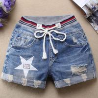 Summer fashion Elastic Waist Denim Shorts Women Short Jeans Plus Size