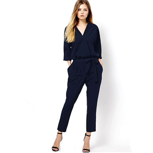 786102281aa Summer Spring Business Casual Jumpsuit Women Solid Black Navy Slim Jumpsuit  Elegant Sleeveless Long Pants