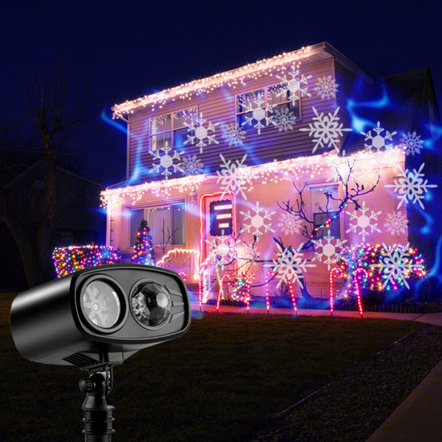 Big Promo Moving Blue watermark Snowflake Laser Projector Lamp LED Stage Light Christmas New Year Party Halloween Outdoor
