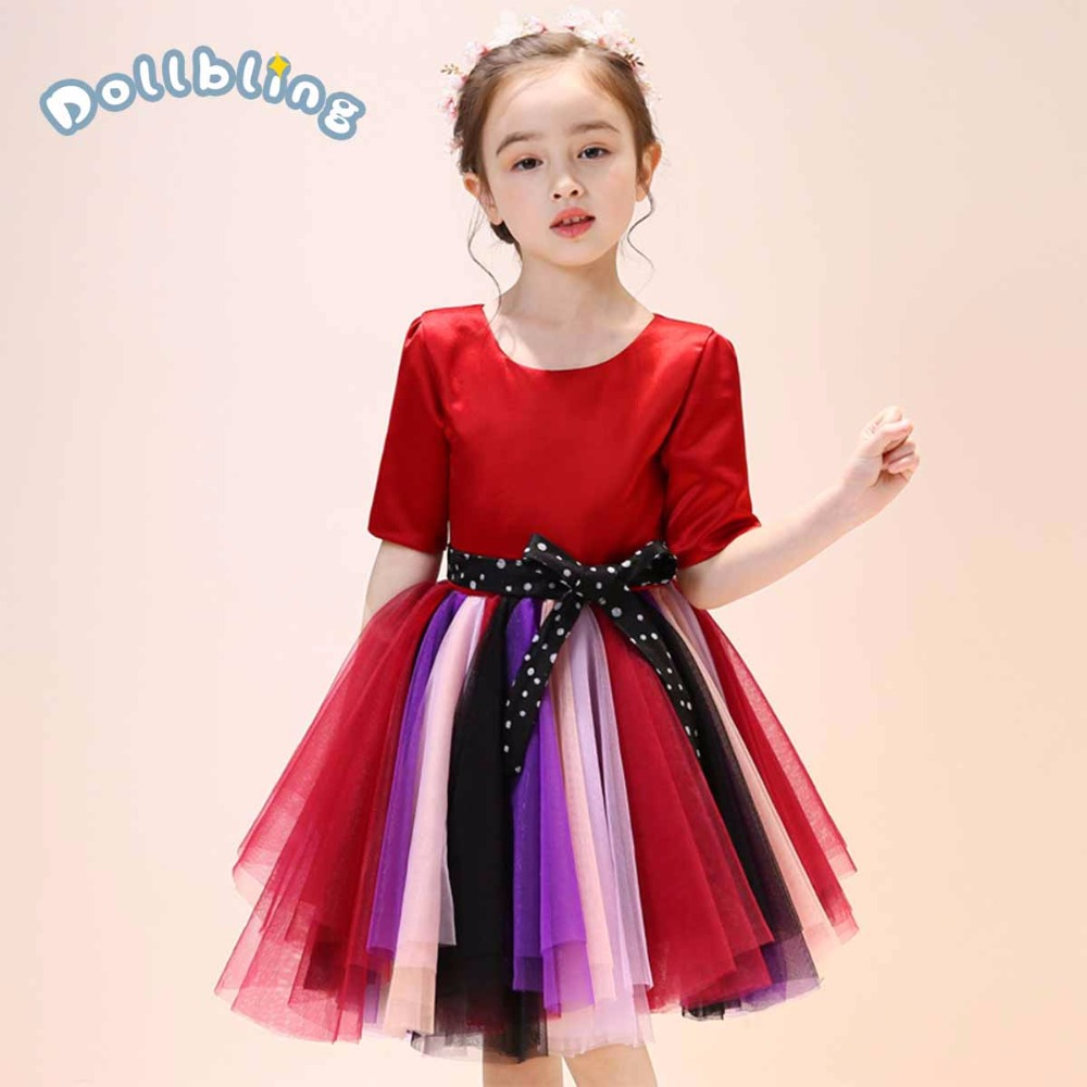 Kids Girls Evening Dress Children Princess Birthday Piano Performance Costume Multicolor Dress Bowknot Belt Tutu Lace Yarn DressKids Girls Evening Dress Children Princess Birthday Piano Performance Costume Multicolor Dress Bowknot Belt Tutu Lace Yarn Dress