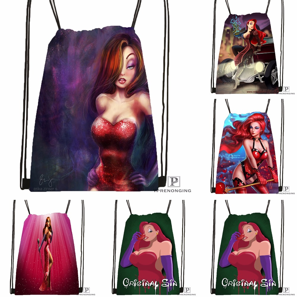 Custom Jessica Rabbit Final Smlfram Drawstring Backpack Bag Cute Daypack Kids Satchel (Black Back) 31x40cm#180531-03-43
