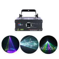 AUCD 500mW 1W DMX RGB Animation Laser Projector Lights DJ Disco Party Full Color Beam Moving Ray Scannin Show Stage Lighting F6A