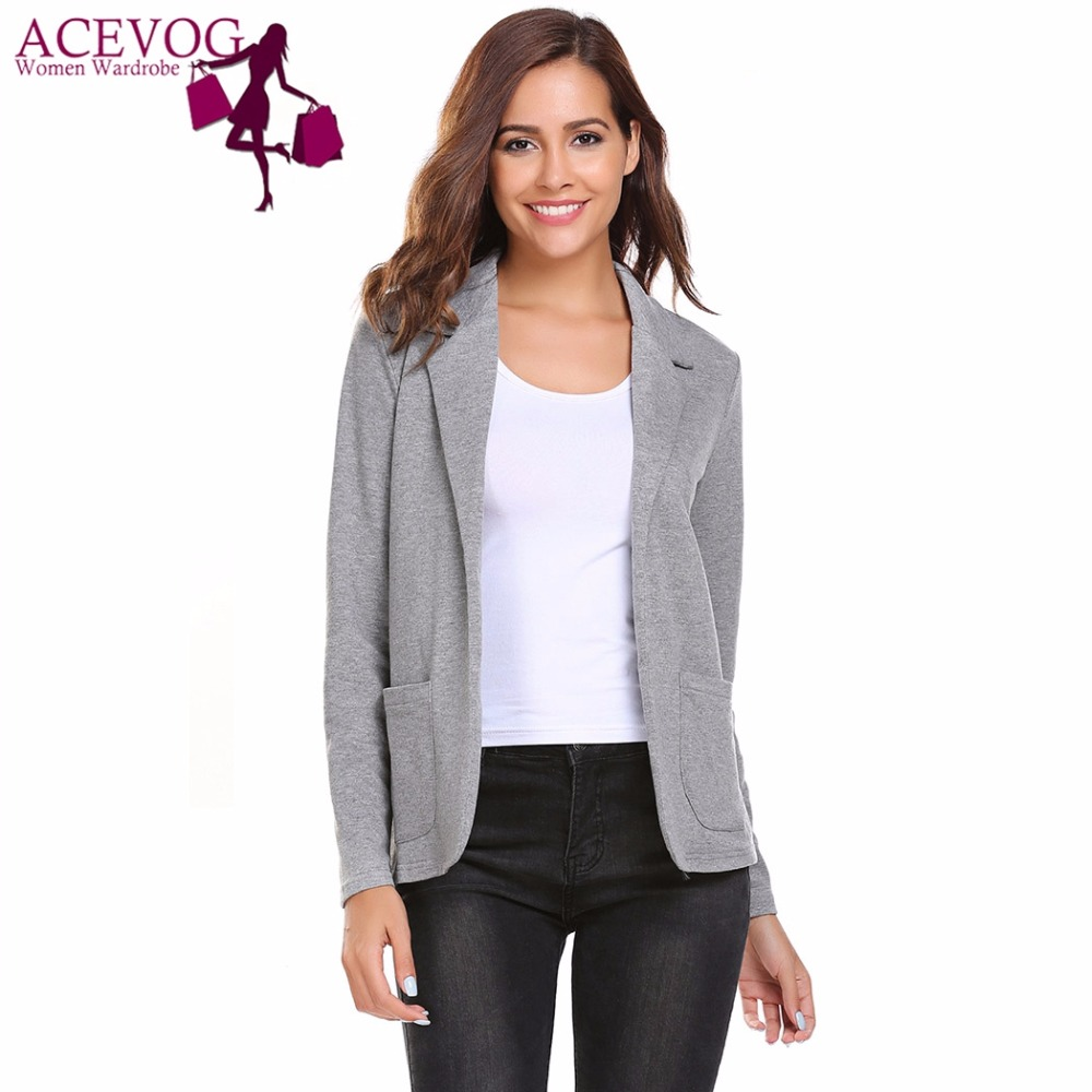 ACEVOG Women's Blazer Spring Autumn Casual Solid Notched Slim Coats Fit Ladies Jacket Pockets Feminino Suit Tops Plus Size 3XL