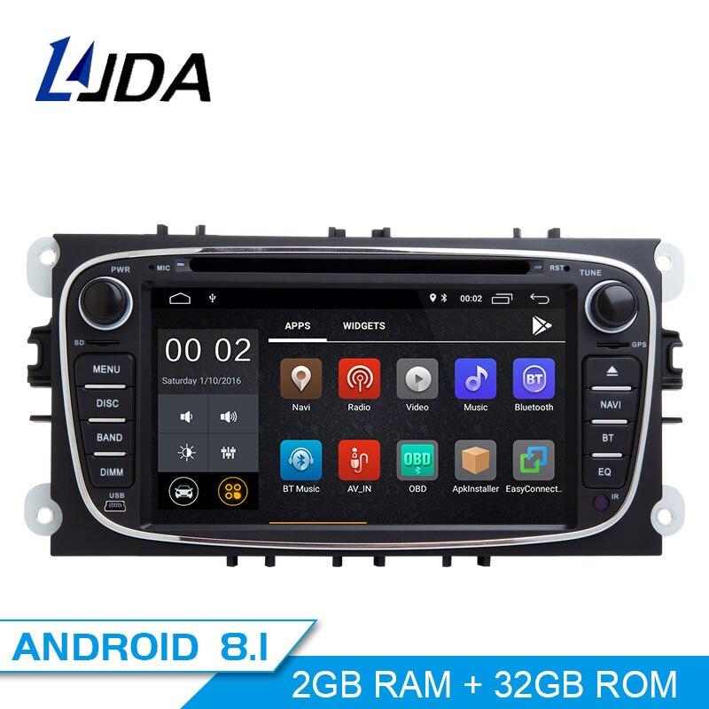 Autoradio LJDA 2 Din Android 8.1 pour FORD FOCUS 2 MONDEO S-MAX C-MAX GALAXY lecteur multimédia de voiture stéréo Audio GPS DVD vidéo IPS