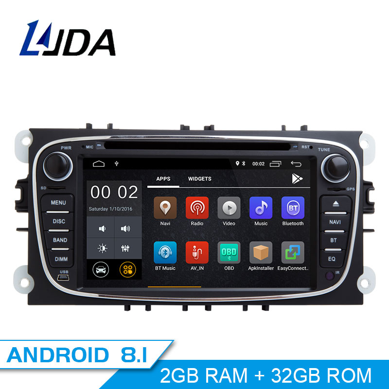 LJDA 2 Din Android 8.1 Car Radio For FORD FOCUS 2 MONDEO S-MAX C-MAX GALAXY Car Multimedia Player Stereo Audio GPS DVD Video IPS