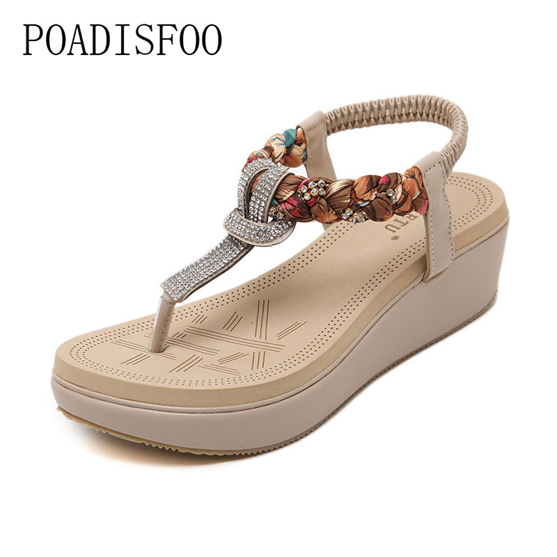 POADISFOO 2017 new ethnic women's shoes Bohemian diamond slope with a large  summer sandals Zapatos Mujer .JXF-6662B pi b as pcba expansion board set for raspberry pi multicolored