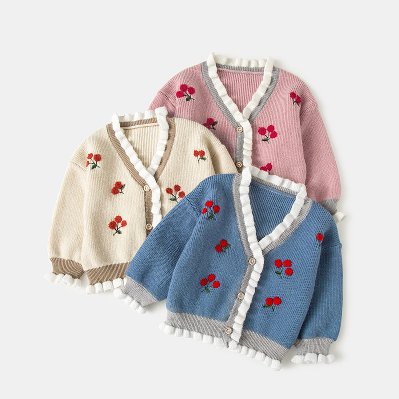 Kids Cardigan Girls Children's Knit Cardigan Sweaters Autumn Strawberry Embroidery Outerwear Sweater Baby Clothes 3colors 0-4Y pocket button up knit cardigan