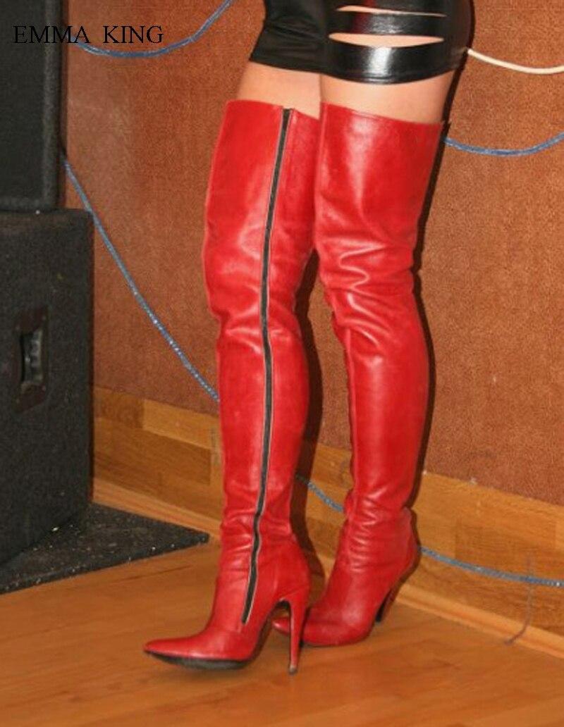 Chaussures Botas Haute Automne Mujer Cours Sexy Danse Bout Discothèque Rouge Latérale Bottes Pointu Femmes Glissière Printemps Genou Talons x4UPU
