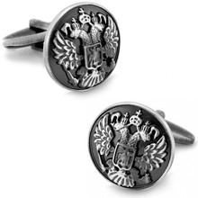 SPARTA Antic Silver Plated Two Heads Eagle Basso-Relievo cufflinks men's Cuff Links + Free Shipping !!! metal buttons