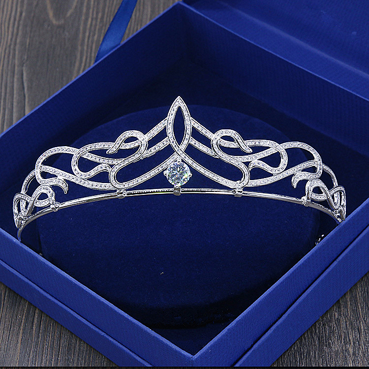 Paved Zircon Crown Full Cubic Zirconia Tiara CZ Tiaras Vintage Bridal Diadem Wedding Hair Accessories Coroa Noiva WIGO1171