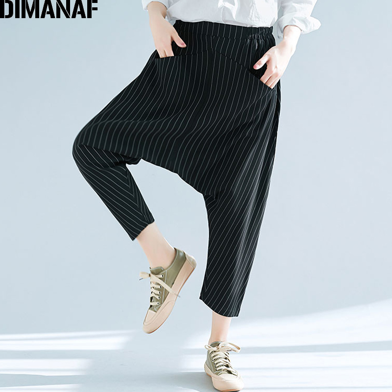 DIMANAF Women Plus Size Harem Pants 2018New Summer Elastic Waist Oversized Black Casual Striped Loose Long Pants Female Trousers