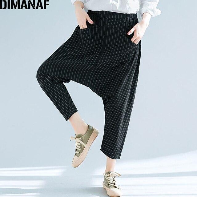 5d92ad45009 DIMANAF Women Plus Size Harem Pants 2018New Summer Elastic Waist Oversized Black  Casual Striped Loose Long Pants Female Trousers
