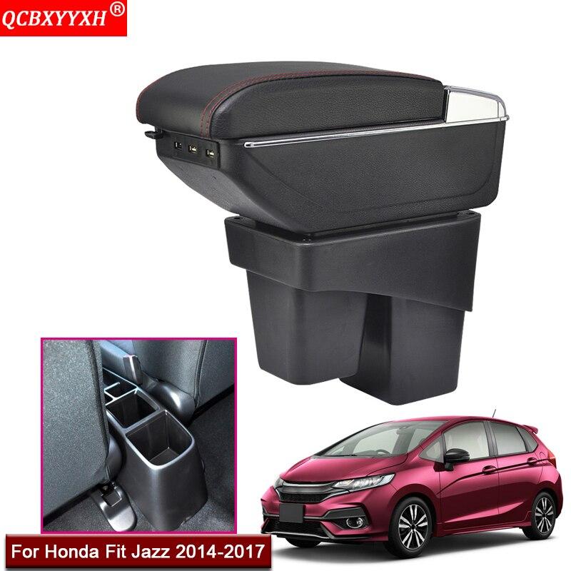 Style de voiture ABS avec PU cuir voiture accoudoir boîte Console centrale support de la boîte de rangement accessoires pour Honda Jazz Fit 2014-2017