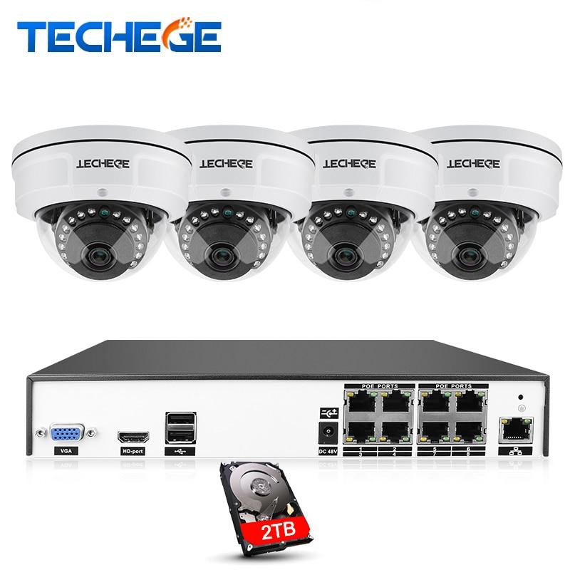 Techege H.265 8CH POE NVR Kit POE IP Câmera 4MP 2592*1520 Visão Nocturna do IR Vandalproof À Prova D' Água de Vídeo Vigilância sistema