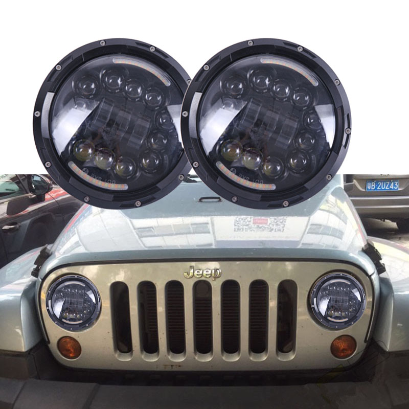 90W 7 INCH Motorcycle LED Headlight Angel eyes With Amber turn signal halo DRL for Harley Davidson Daymaker Jeep Wrangler