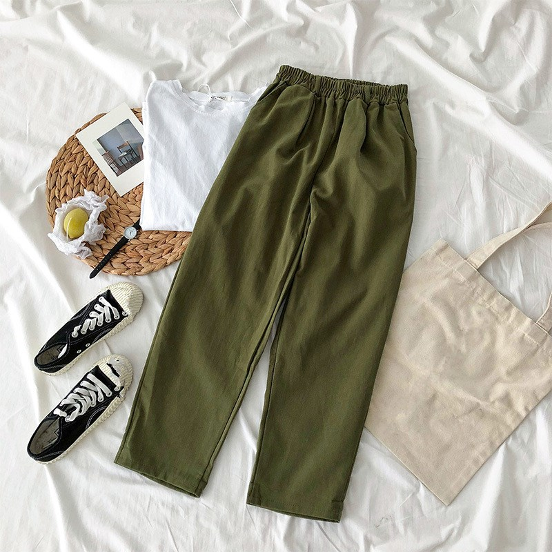 New Women High Waist   Wide     Leg     Pants   Women Streetwear Solid Elastic Waist Harem   Pants   Casual Loose Joggers Trousers