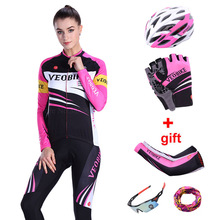 VEOBIKE 2018 Pro Team Cycling Jersey Set Women Autumn Long Sleeve Bicycle Clothing Mtb Bike Wear 5D Padded Ladies Cycle Clothes santic autumn winter women winter cycling set bicycle jacket padded pants pro team cycling clothing mtb bike long jersey set
