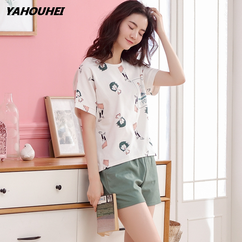 Women Pajamas Sets Big Size M-2XL 100% Cotton Short Sleeve Nightwear Cartoon Pyjamas Lady Summer Sleepwear Top + Pants 2 Pcs Set