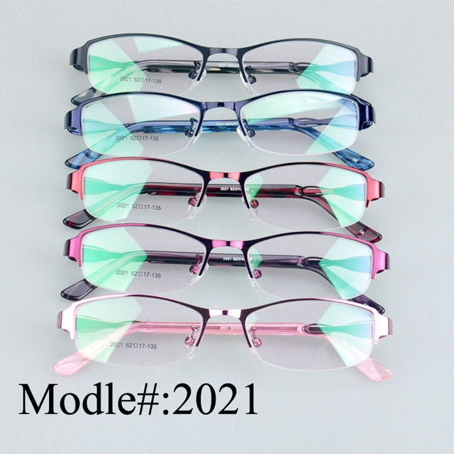 2021 woman's designer half rim metal optical eyeglasses prescription frames hyperopia spectacles myopia eyewear