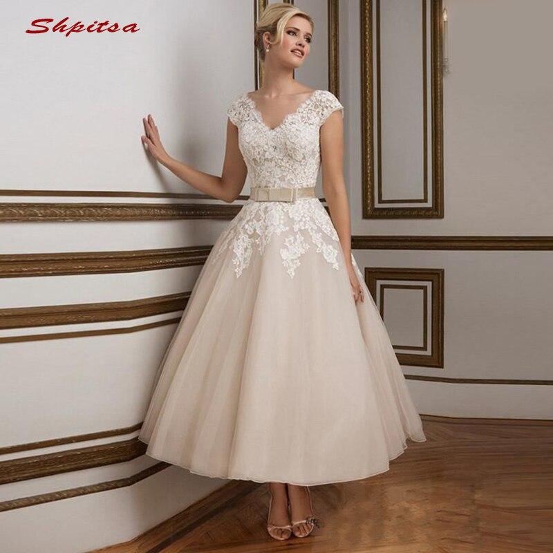 Lace Wedding Dresses Short Tulle Turkey Plus Size Bride Bridal Weding Weeding Dresses Wedding Gowns 2019