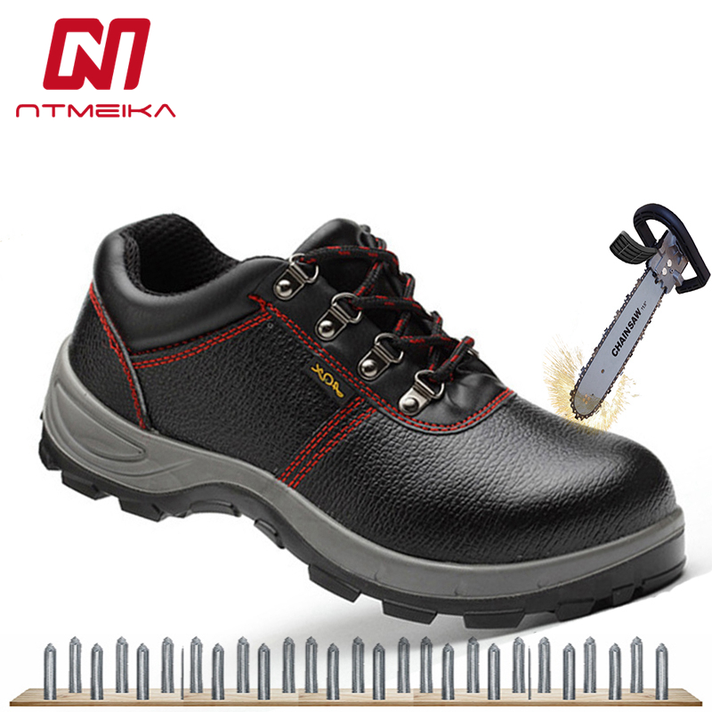 fbb445a5b324 Safety Shoes Boots Men Big Size 36-46 Steel Toe Work Shoes Genuine Leather  Breathable Electrician Shoes Men 6KV Insulated Shoes