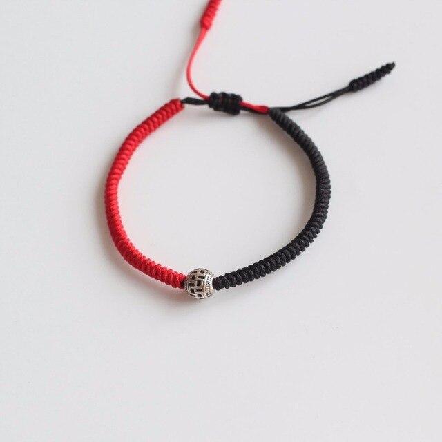 Red & Black Tibetan Silver Ball Handmade Knots Lucky Rope Bracelet ...