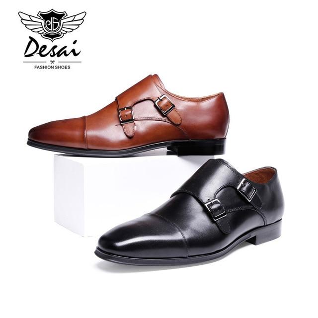 2017 New Design Italian Genuine Cow Leather Shoes Men Formal Oxfords Dress  Shoes Black Brown Male Business DESAI Dress Shoes b1e5c4c05480