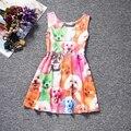 Nueva Llegada del Estilo Europeo y Americano Vestidos de Las Muchachas Linda Animal Print Niños Sundress Sin Mangas Vestidos de Verano Ropa de Los Niños
