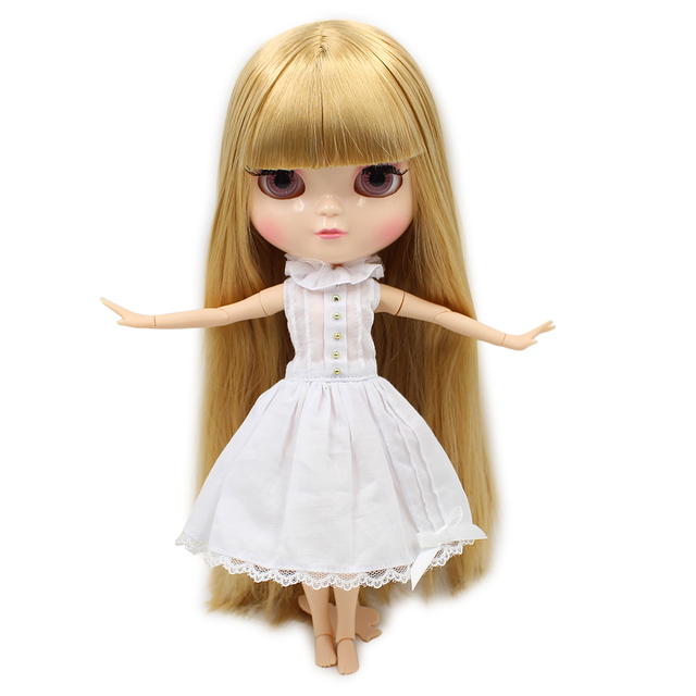 Joint Body small chest ICY nude doll blond straight hair with bangs 30cm Fortune Days No.280BL0736  free shipping