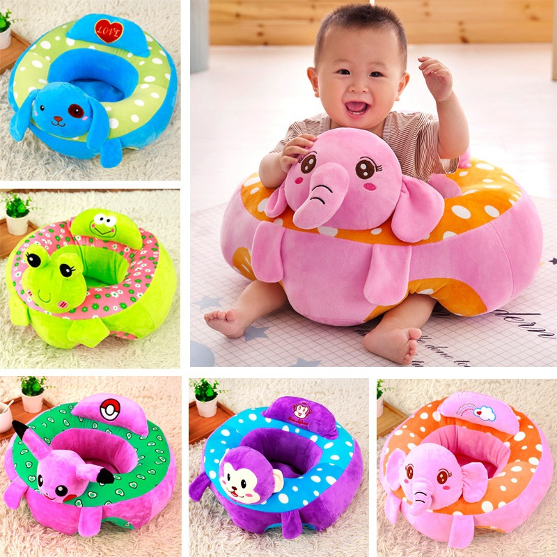 Creative cartoon animal toys baby learning sitting plush toys sofa children seat infant safety seat convenient meal dining chair baby head protective pad cartoon animal toddlers pillow infant learning walk safety cushion fj88
