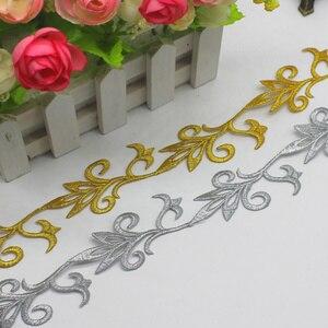 Ferro em laço bordado trançado vintage appliqued cosplay laço fitas 6 metros ouro e prata guarnições venise 3.7 cm de largura
