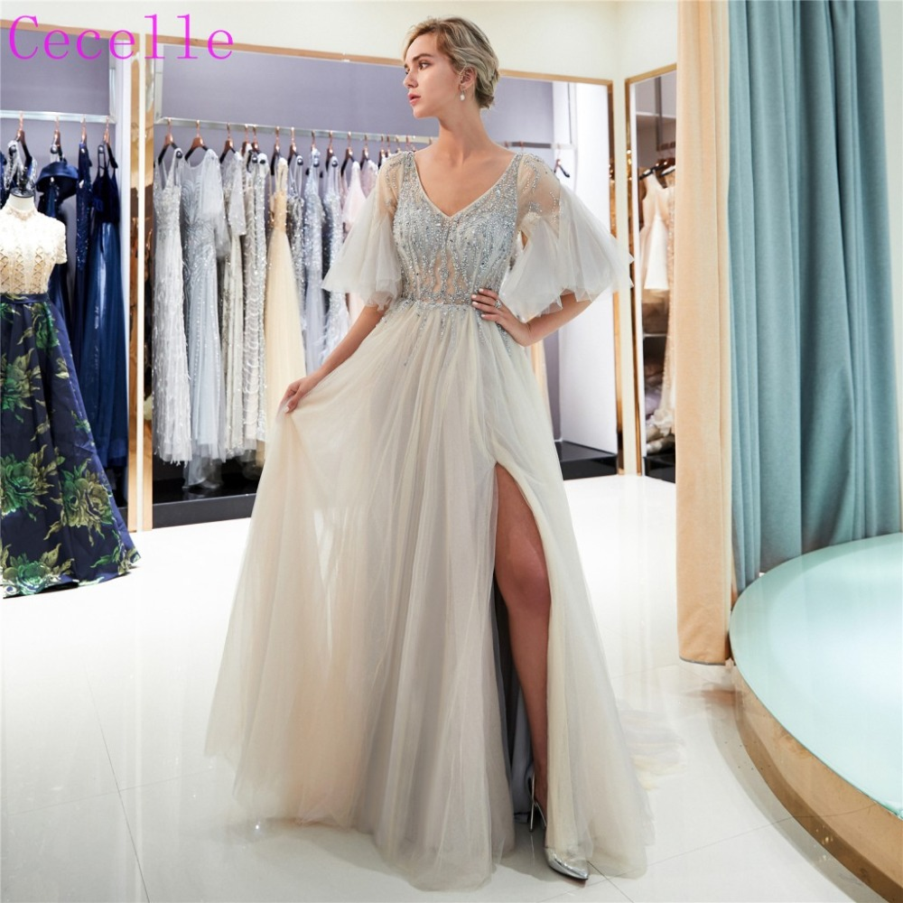 2019 New Silver A-line Beading   Prom     Dress   Long V Neck Sexy Sheer Top Tulle Evening Party   Dress   With Sleeves