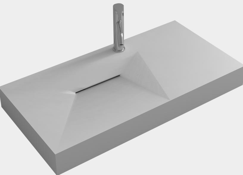 Bathroom Corain Rectangular Wall Hung Vessel Sink Matt Solid Surface