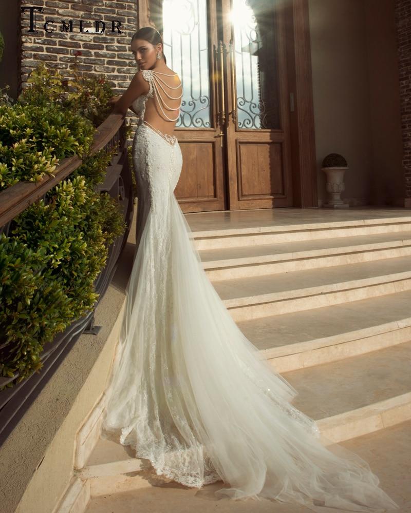 Tcmldr New Sexy Back Pearl String Chain Mermaid Wedding Dress 2017 ...
