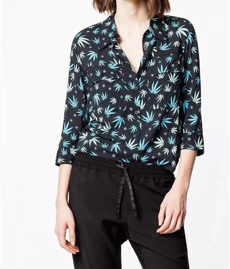 Women Double Pocket Maple Leaf Print Blouse 2019 New Turn Down Collar Casual Shirt