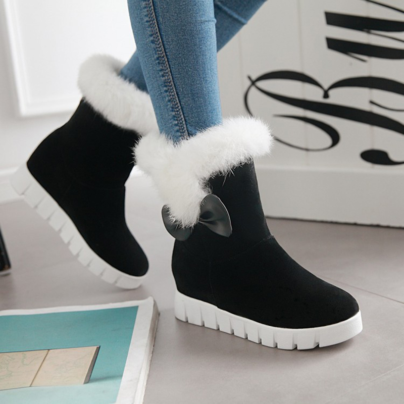 Ankle Boots Women Shoes Black Red Beige Fur Flat Platform Boots Fashion Hidden Wedges Winter Boots Ladies Shoes Big Size 43 brand new winter quality women mid calf wedges boots fashion black red beige lady riding shoes eym02 plus big size 10 43