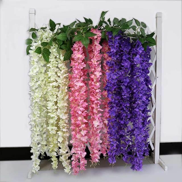 eedc9f8417717 10 unids de mimbre de Wisteria Artificial de vid de la flor para boda  bricolaje artesanal