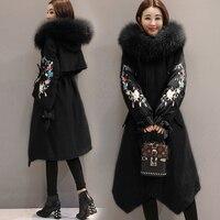 2018 Winter Jackets Women Embroidery Coats Big fur collar Hooded Down Jacket Warm Long Parka Women Thicken Cotton Jackets 1857