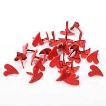 50 шт. красные, белые металлические шипы в форме сердца, шипы для скрапбукинга, украшения, застежка, украшения для брадса