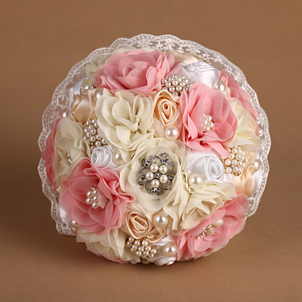 Colorful handmade Wedding Bouquet Elegant Shining pearl artificial jewelry lace with white lace wedding bride holding flowers