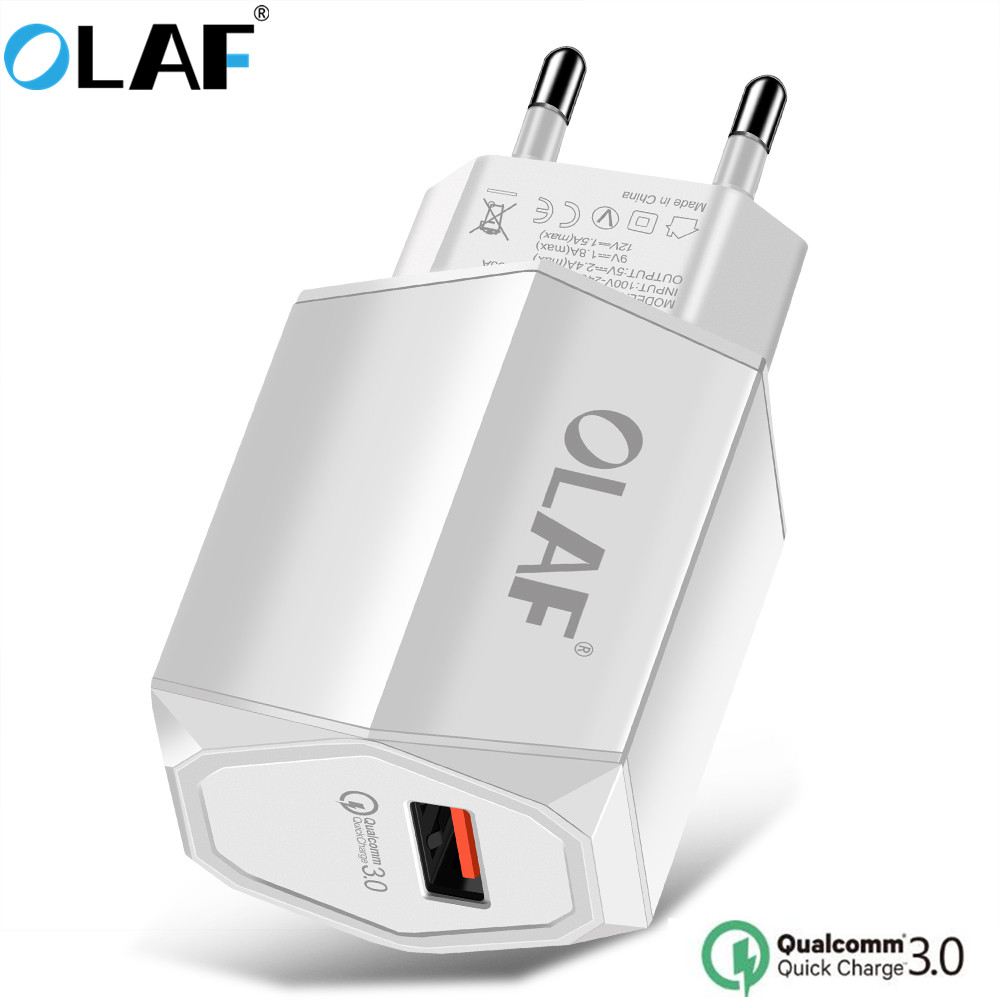 OLAF Quick Charge 3.0 USB Charger For Mobile Phone 5V 2.4A Fast Charge Travel Power Adapter For iPhone X 8 Samsung S9 S8 Tablets