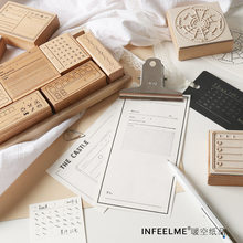 Vintage Check List Calendar Memo Time Planner Wooden Rubber Stamp Set for DIY Scrapbooking Card Decoration Embossing Craft(China)